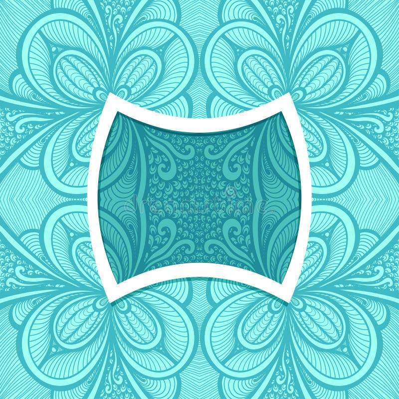 Malplaatje met kader en naadloos zen-Krabbel patroon in blauw vector illustratie