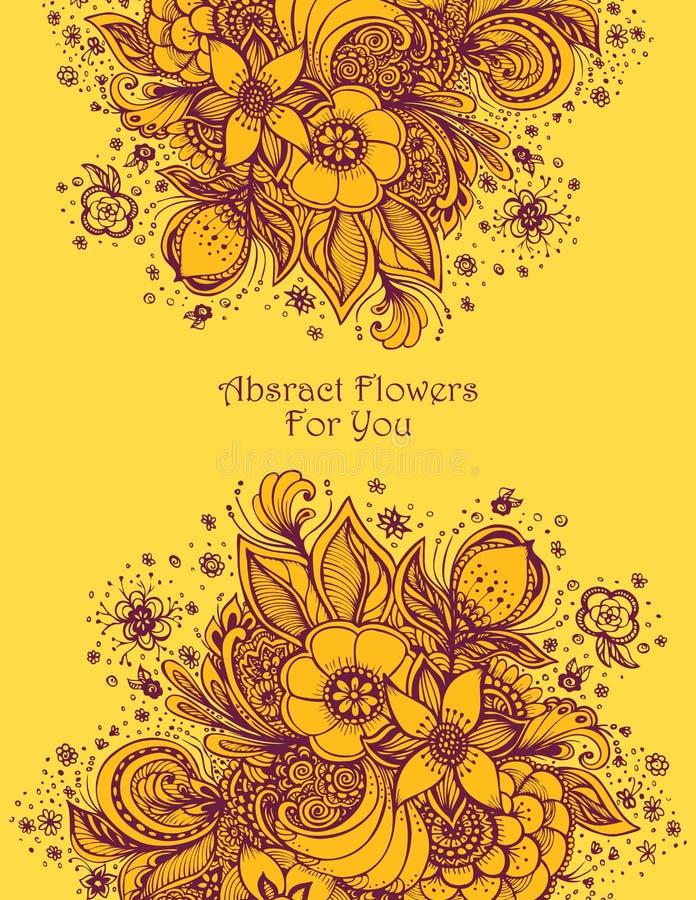 Malplaatje met Mooi abstract bloemenboeket in sinaasappel stock illustratie