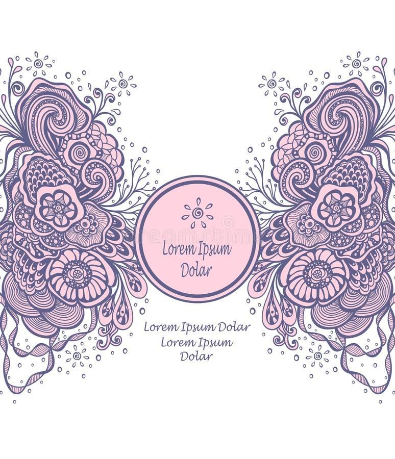 Malplaatje met Mooi abstract marien bloemenboeket in roze grijs op wit vector illustratie