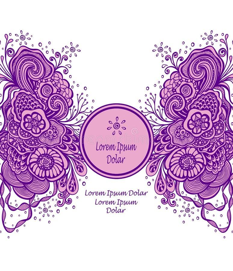 Malplaatje met Mooi abstract marien bloemenboeket in sering op wit royalty-vrije illustratie