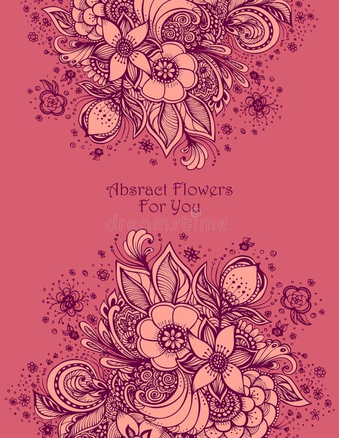 Malplaatje met Mooi abstract rozerood bloemenboeket royalty-vrije illustratie
