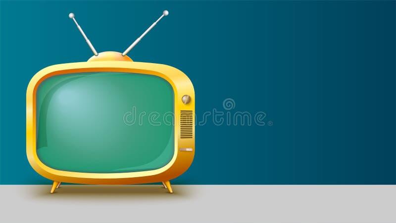 Malplaatje met retro gele Televisie voor reclame op horizontale lange achtergrond, 3D illustratie met plaats voor tekst stock illustratie