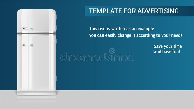 Malplaatje met retro uitstekende koelkast voor reclame royalty-vrije illustratie