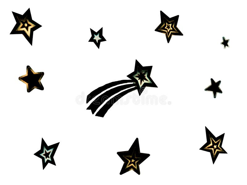 malplaatje met verschillende types van sterren met vage randen op witte achtergrond De zwarte speelt ge?soleerde cijfers mee royalty-vrije illustratie