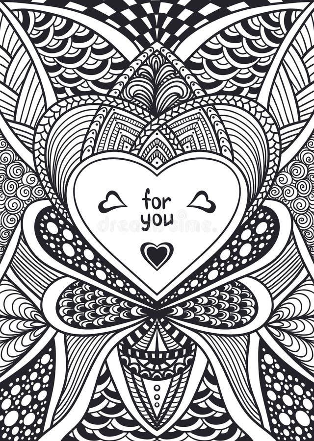Malplaatje met zen-Krabbel stijlpatroon en de zwarte van het hartkader op wit stock illustratie