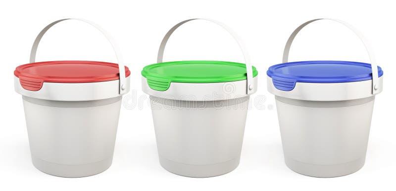 Malplaatje plastic emmers met deksels diverse kleuren 3d vector illustratie