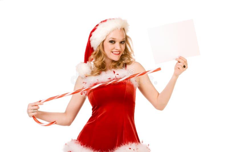 Malplaatje - Sexy speld op Mevr. de Kerstman copyspace royalty-vrije stock foto