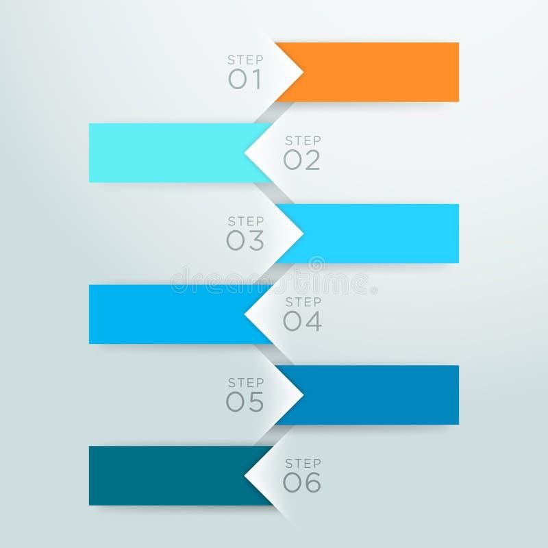 Malplaatje 1 tot 6 A van het Puntstappen van de Infographic Vectorpijl royalty-vrije illustratie