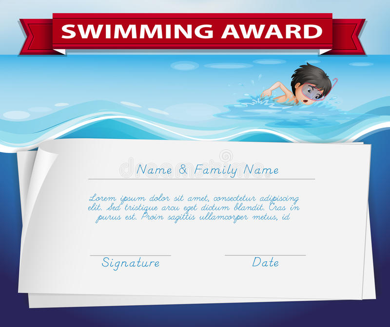 Malplaatje van certificaat voor zwemmende toekenning vector illustratie