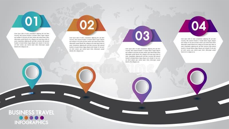 Malplaatje 4 van chronologieinfographics optiesontwerp met een wegmanier en navigatiewijzersplaats voor uw gegevens Vector illust royalty-vrije illustratie
