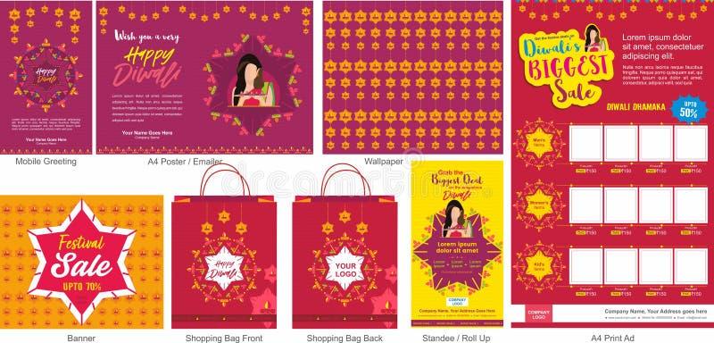Malplaatje van de de Aanbiedings ontwerpt het Grote Verkoop van het Diwalifestival met mobiele groet, mailer of vlieger, behang,  stock illustratie