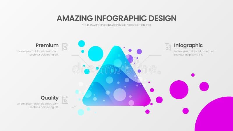 malplaatje van de analytics het vectorillustratie van de 3 optiedriehoek Kleurrijk delta organisch statistieken infographic rappo royalty-vrije illustratie