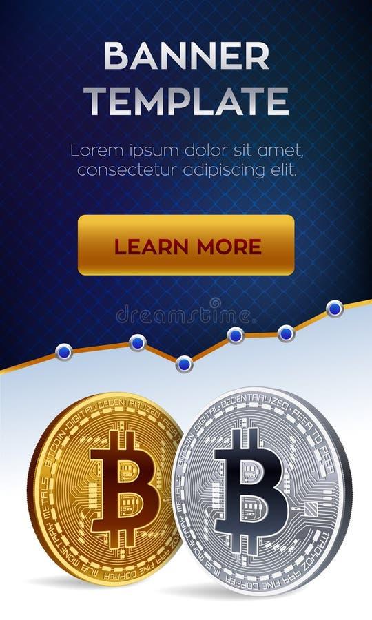 Malplaatje van de Cryptocurrency het editable banner Bitcoin 3D isometrisch Fysiek beetjemuntstuk Gouden en zilveren bitcoins Vec vector illustratie