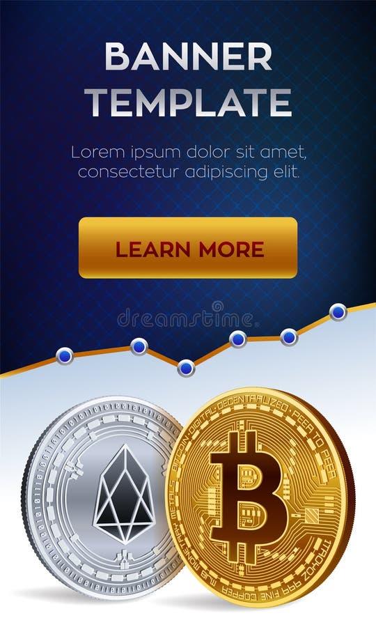 Malplaatje van de Cryptocurrency het editable banner Bitcoin EOS 3D isometrische Fysieke beetjemuntstukken Gouden bitcoin en sive stock illustratie