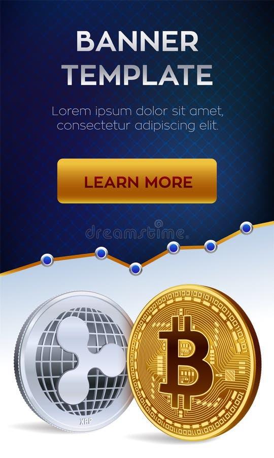 Malplaatje van de Cryptocurrency het editable banner Bitcoin rimpeling 3D isometrische Fysieke beetjemuntstukken Gouden bitcoin e royalty-vrije illustratie