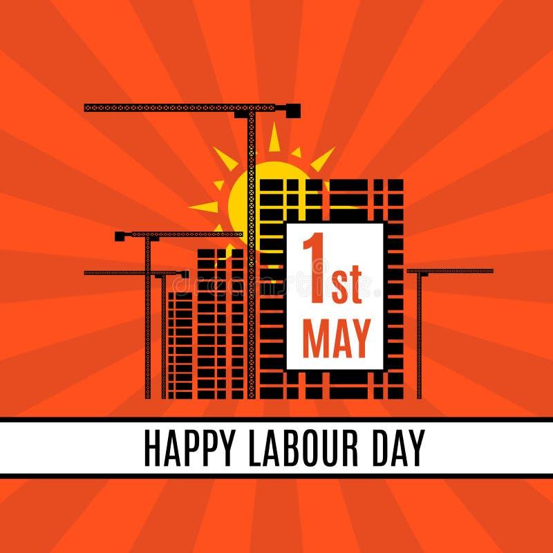 1 malplaatje van de de Dag van de Arbeidbanner van Mei het Gelukkige met kranen, gebouwen en zonsopgang Vector stock illustratie