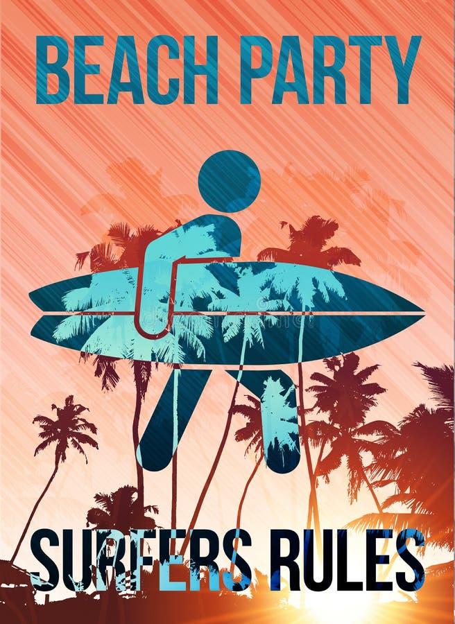 Malplaatje van de de partij het vectoraffiche van strandsurfers royalty-vrije illustratie