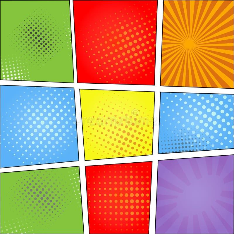 Malplaatje van de de stijl het lege lay-out van het strippaginapop-art met vector illustratie