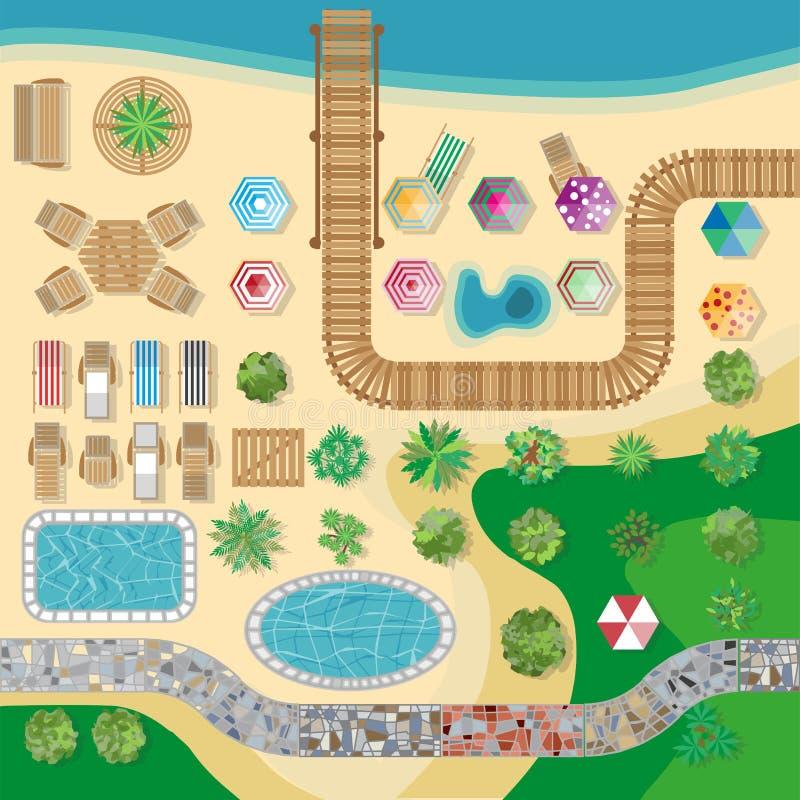 Malplaatje van de de toevlucht het vectorlay-out van het zwembadhotel royalty-vrije illustratie