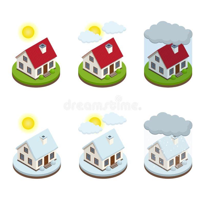 Malplaatje van de dienst het isometrische pictogrammen van het huisverzekeringsbedrijf Conceptenveiligheid van bezit Bescherming  vector illustratie