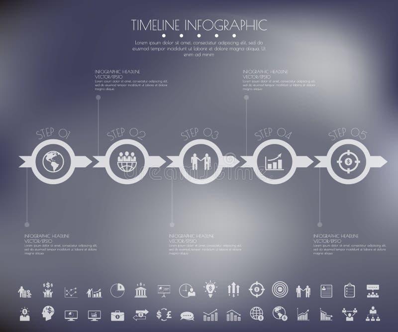Malplaatje van de het aantalchronologie van het stapontwerp het schone bij het onduidelijke beeld background/gr stock illustratie