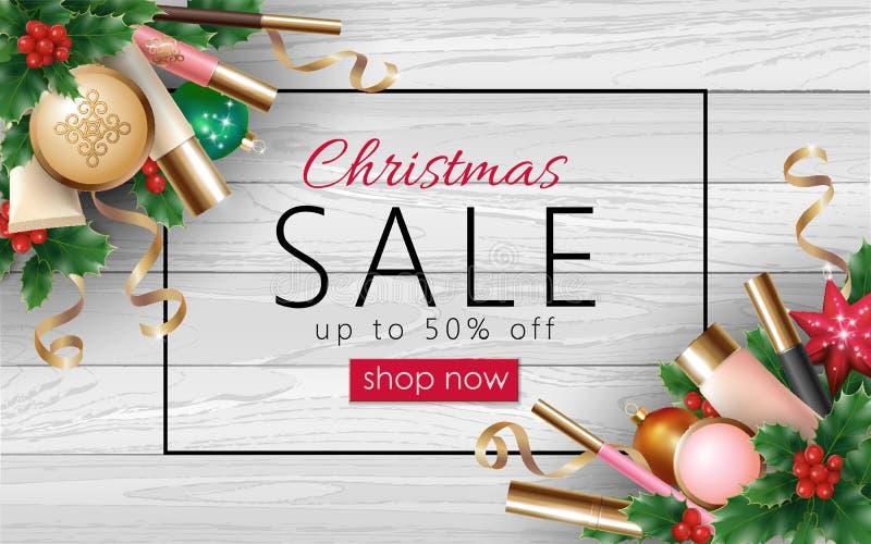 Malplaatje van de het Webbanner van de Kerstmis het kosmetische verkoop 3d realistische Vrouwelijk maak omhoog de boom tot stuk s vector illustratie