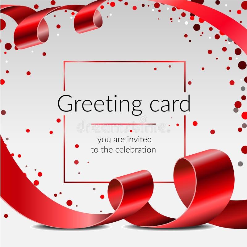Malplaatje van de de kaart het vectorbanner van de vieringsgroet met rood lint en confettien op witte achtergrond, kader voor tek royalty-vrije stock afbeelding