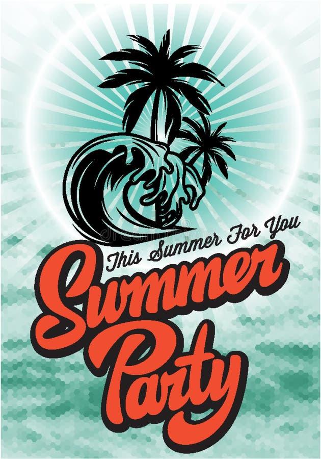 Malplaatje van de kleuren het vectoraffiche voor de zomerpartij met het kalligrafische van letters voorzien royalty-vrije illustratie