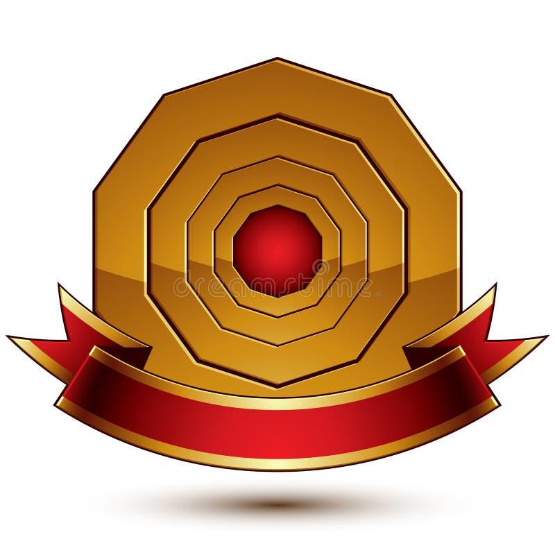 Malplaatje van de ontwerp het vector gouden ring met rood curvy lint stock illustratie