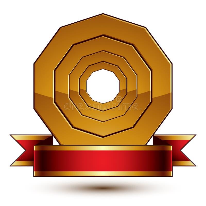 Malplaatje van de ontwerp het vector gouden ring met rood curvy lint, 3d rou vector illustratie