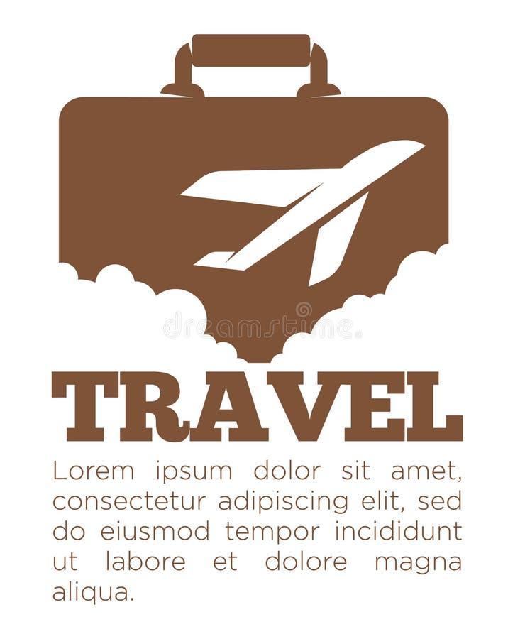 Malplaatje van de reisbureau het vectoraffiche van koffer en vliegtuig vector illustratie