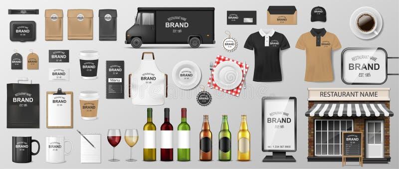 Malplaatje van de restaurant het Collectieve Brandmerkende identiteit Modelontwerp voor Koffie, Koffie, Snel voedsel Realistische royalty-vrije stock afbeelding