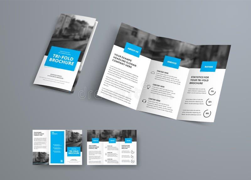 Malplaatje van de Trifold het vectorbrochure met blauwe rechthoekige elementen royalty-vrije illustratie