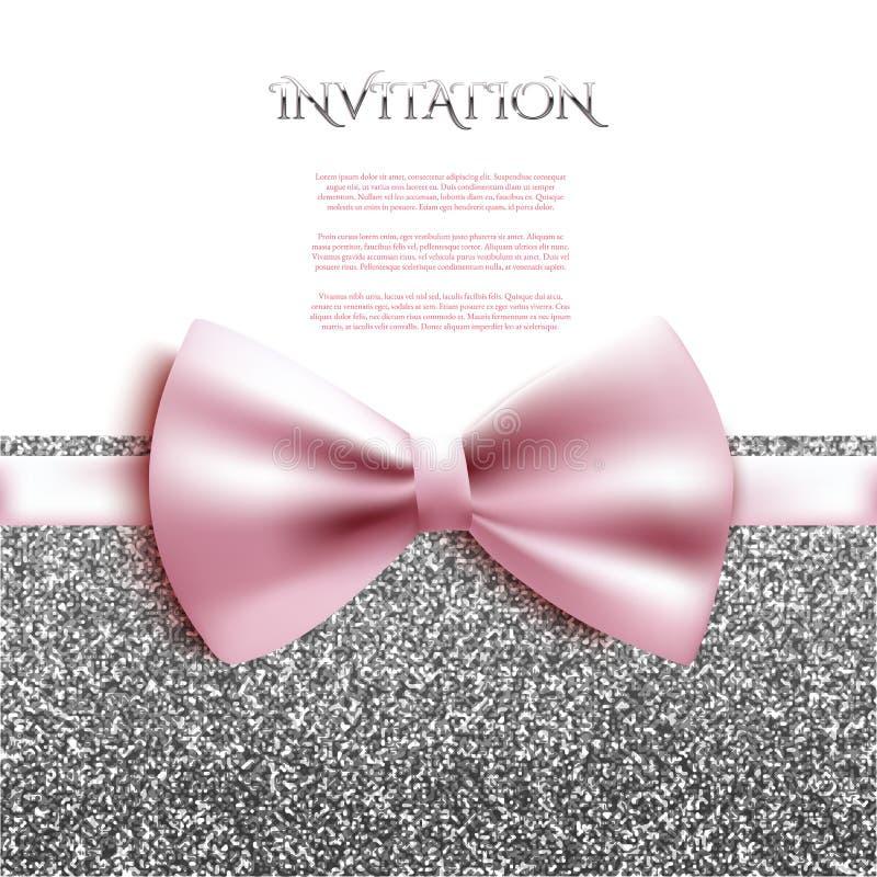 Malplaatje van de uitnodigings schitteren het decoratieve kaart met boog en het zilver royalty-vrije illustratie