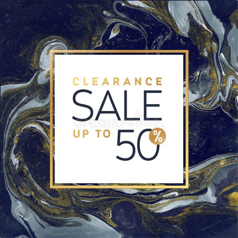 Malplaatje van de Uitverkoop het Vierkante Zwart-witte Banner met Marmeren Textuur op Witte Achtergrond Gouden Flikkeringsvector stock illustratie