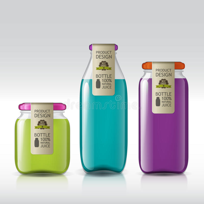 Malplaatje van flessensap, jam, vloeistoffen vector illustratie