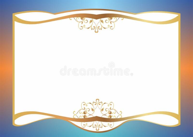 Download Malplaatje Van Gift Of Huwelijkskaart Met Gouden Decoratie Stock Illustratie - Illustratie bestaande uit helder, viering: 114225978