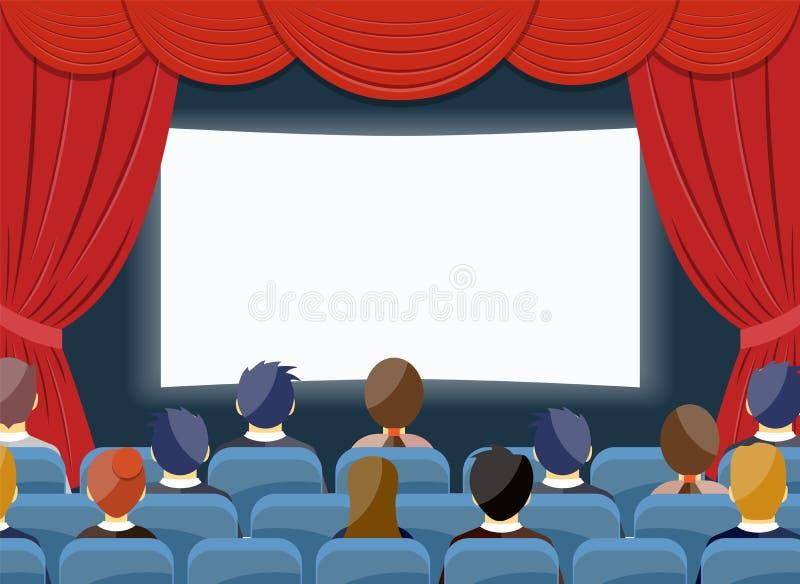 Malplaatje van het de bioscoop het lege scherm van het bioskoophorloge royalty-vrije illustratie