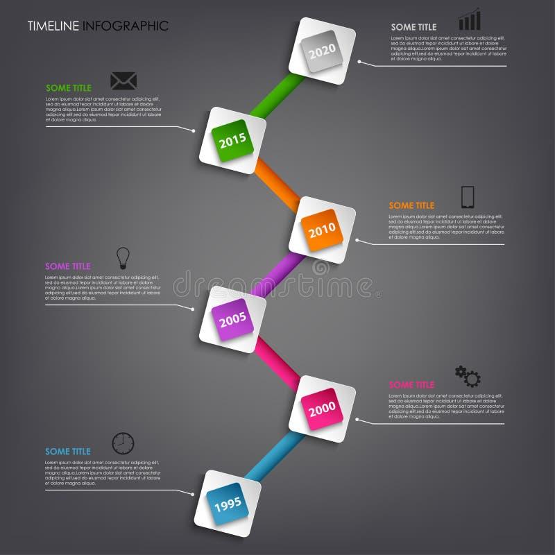 Malplaatje van het de informatie het grafische gekleurde vierkante element van de tijdlijn stock illustratie