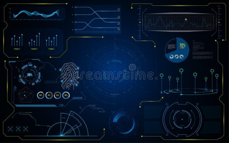 Malplaatje van het de interface het futuristische virtuele systeem van Hudgui royalty-vrije illustratie