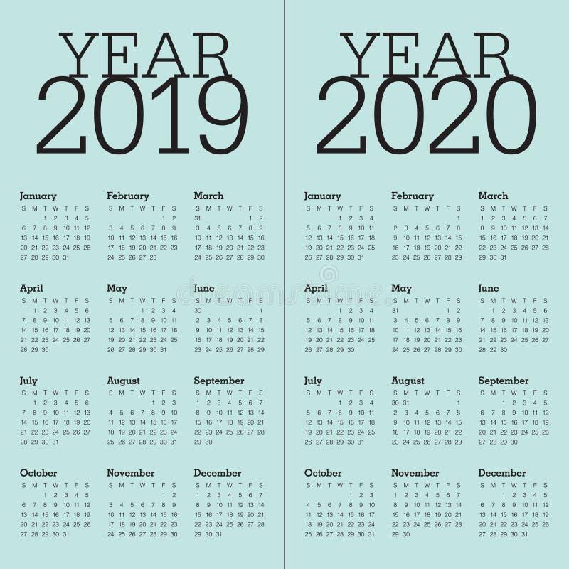 Malplaatje van het de kalender het vectorontwerp van jaar 2019 2020 stock afbeeldingen
