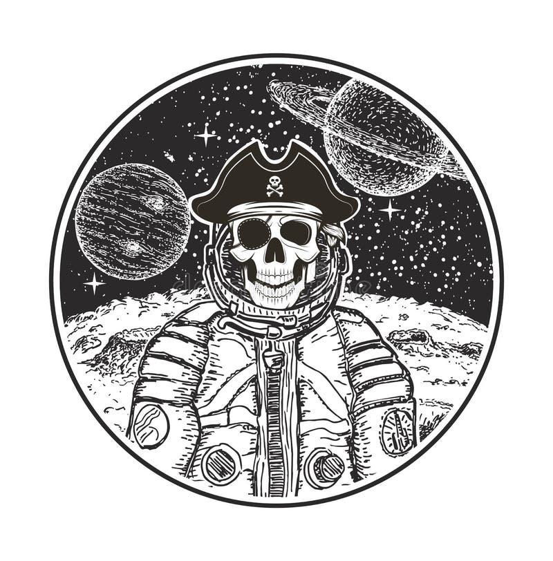 Malplaatje van het de t-shirtontwerp van de astronauten het ruimtepiraat vector moderne stock illustratie