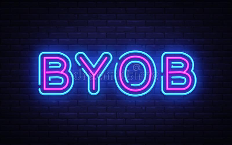 Malplaatje van het de tekst het vectorontwerp van het Byobneon Breng Uw Eigen teken van het Flessenneon, lichte het elementen kle royalty-vrije illustratie