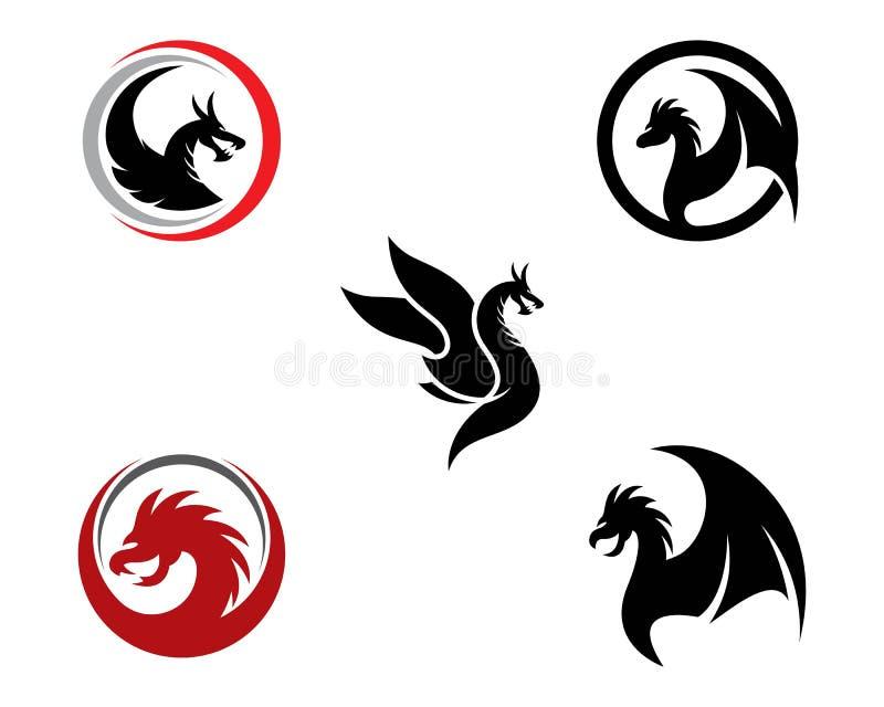 Malplaatje van het draak het hoofdembleem stock illustratie