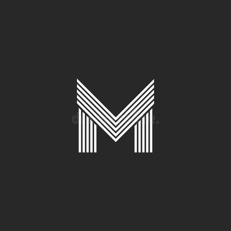 Malplaatje van het het embleem hipster het aanvankelijke embleem van de monogramm brief, het zwart-witte vlakke dunne element van royalty-vrije illustratie