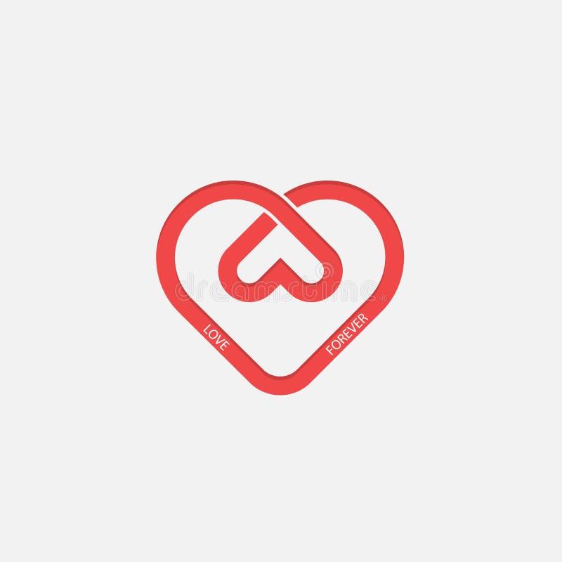 Malplaatje van het het embleemontwerp van hartpictogrammen het vector Het symbool van de liefde Valentine ` s vector illustratie