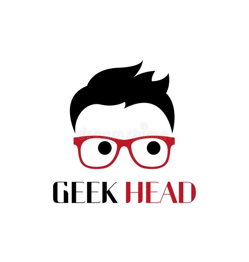 Malplaatje van het Geek het hoofdembleem stock illustratie