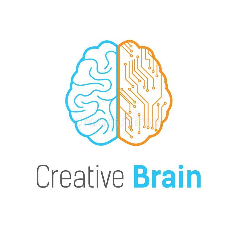 Malplaatje van het het embleemontwerp van de hersenentechnologie het vector