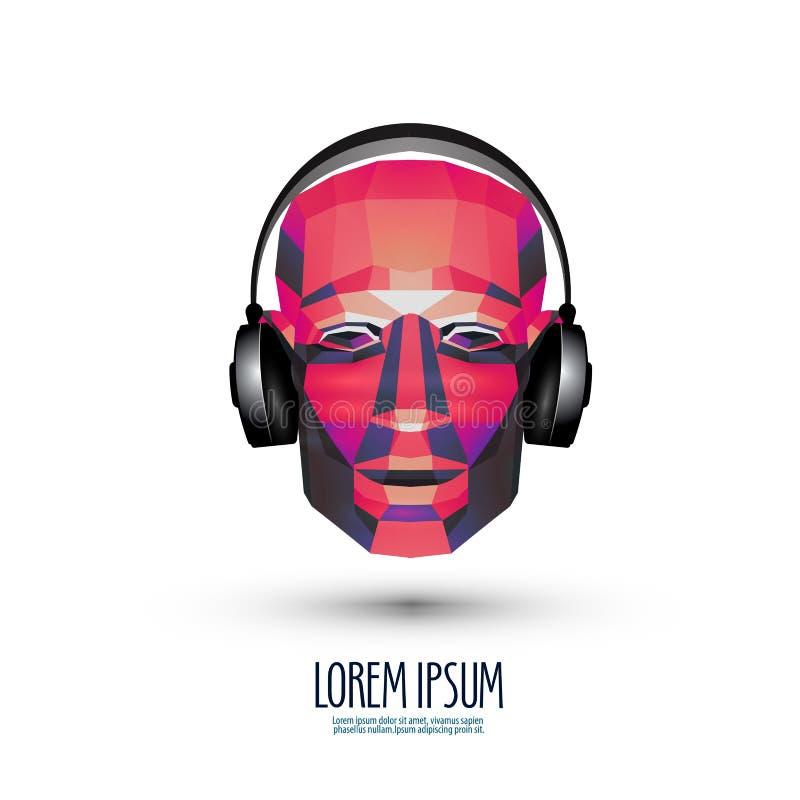 Malplaatje van het het embleemontwerp van DJ het vector muziek of stock illustratie
