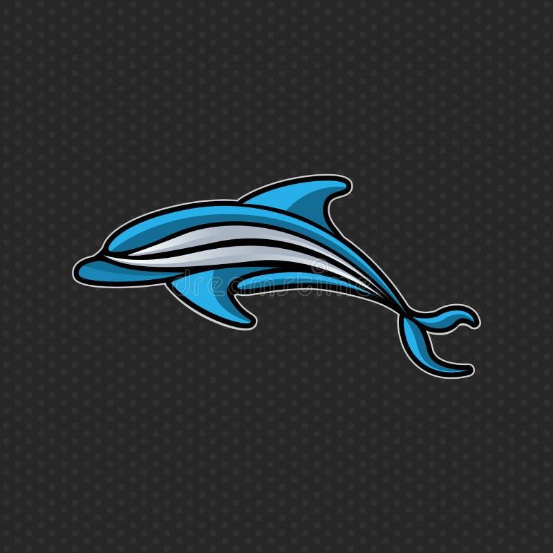 Malplaatje van het het pictogram het vectorontwerp van het dolfijnembleem vector illustratie